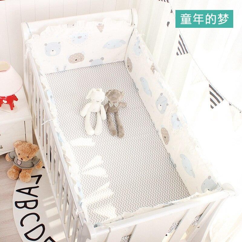 Cotton 5pcs Baby Cot Bedding Set Newborn Baby Crib Bedding Set Detachable Washable Bed Linen 4pcs Cot Bumpers+1 Bedsheet 8 Sizes