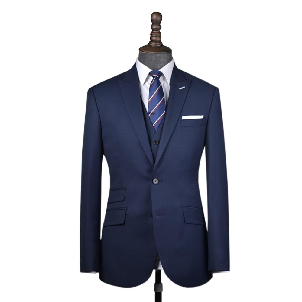 Wool woolen  dark navy men suit Custom made men wedding blazer suit 3pcs