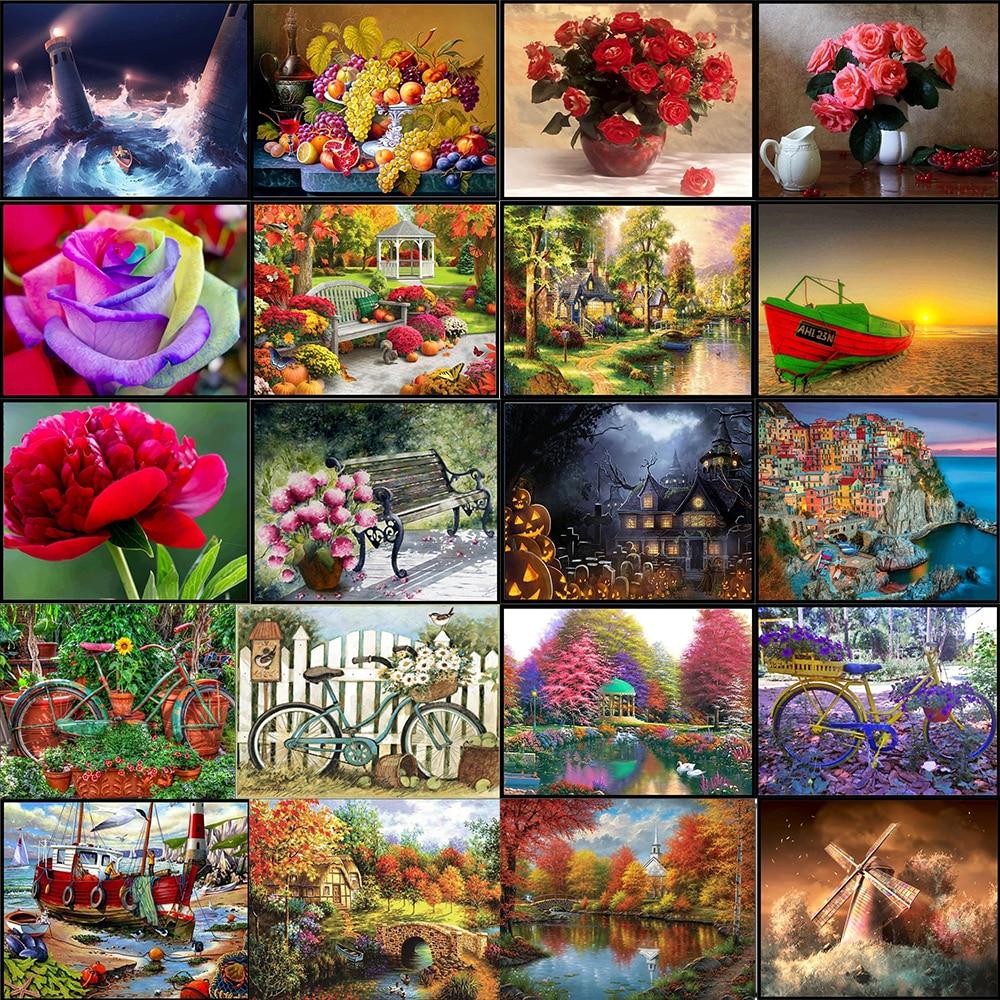 Plant 5D Diamond Painting Full Diamond Rose Rose Wood Round Diamond Mosaic Pattern Home Decoration DIY Handmade Diamond Embroide