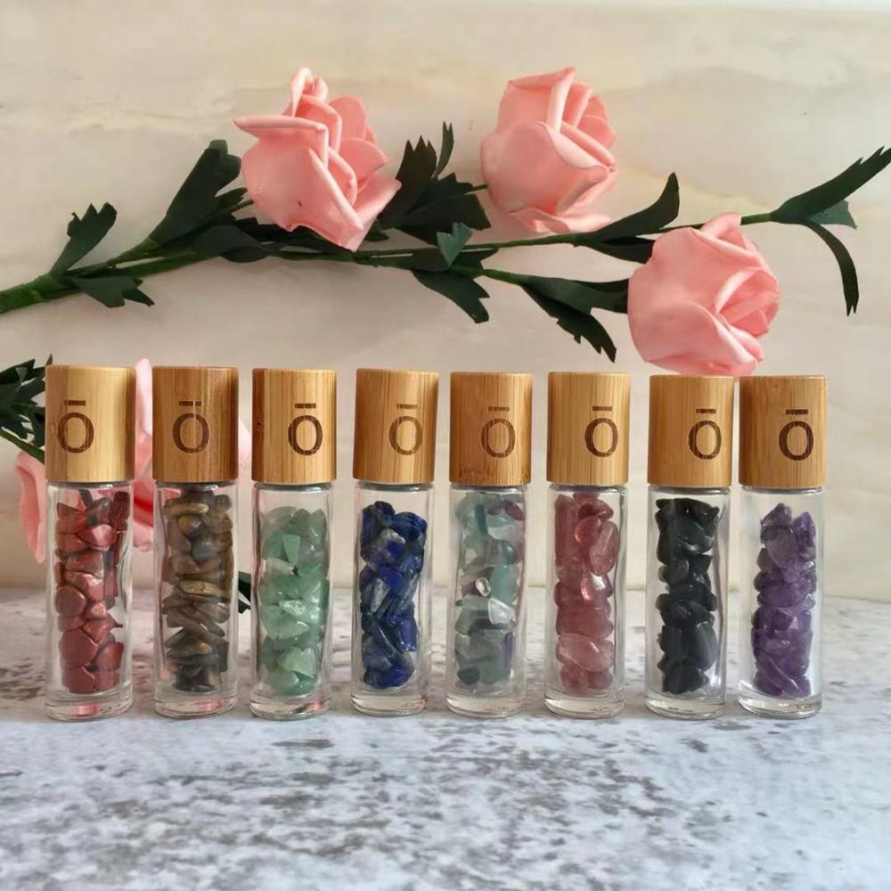 1000 Uds. 10ml cristal piedra aceites esenciales masaje rodillo botellas piedras preciosas rollo en botella de Perfume con tapa de Bambú