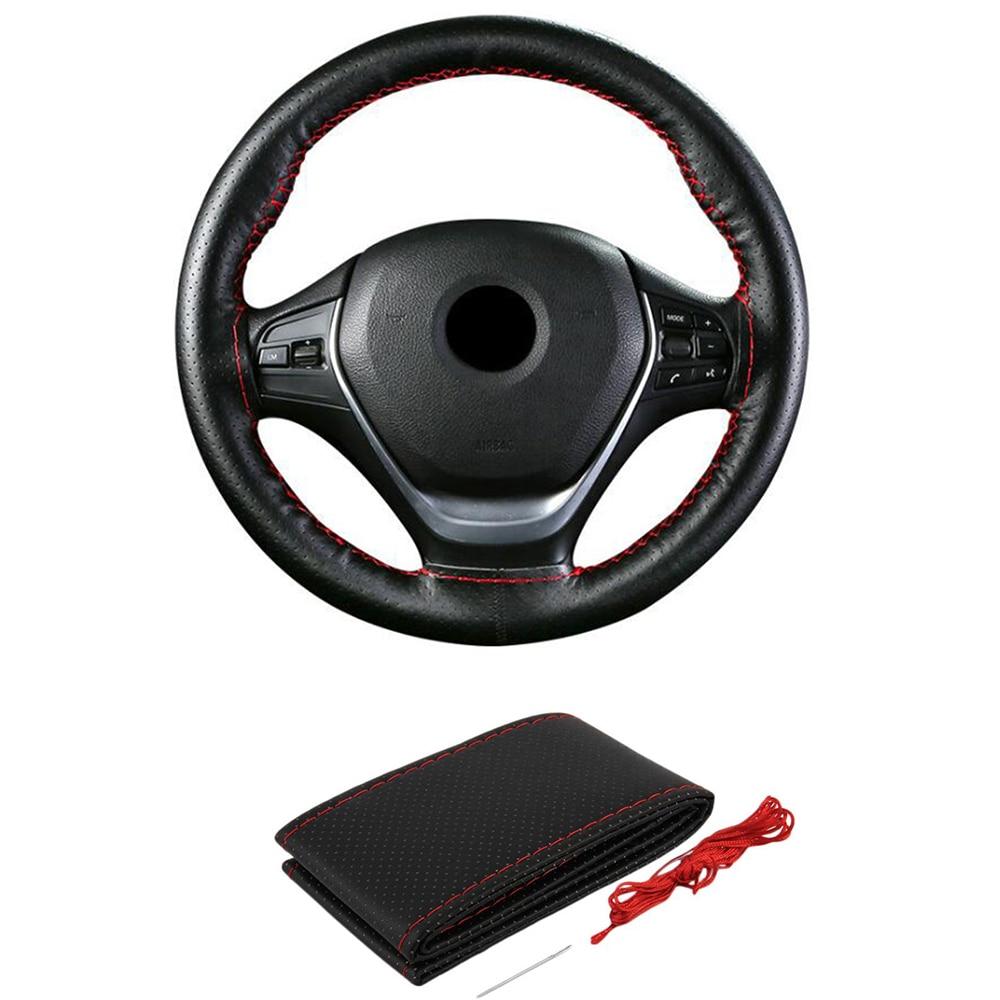 Cubierta de volante cosida a mano M 38cm, cubiertas de diseño para coche, Suite con agujas e hilo