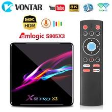 X88 PRO X3 Android 9.0 TV Box 4GB RAM 64GB 32GB Amlogic S905X3 Quad Core 1080p 4K Google Assistant vocal 2G 16G décodeur
