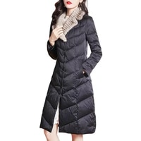 winter luxury down trench coat women fasion mink fur collar outerwear thick warm lady clothing puffer jacket s8765