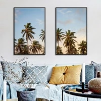 nordic seascape posters and prints palm tree blue sky canvas painting modern home decoration modular wall art pictures no frame