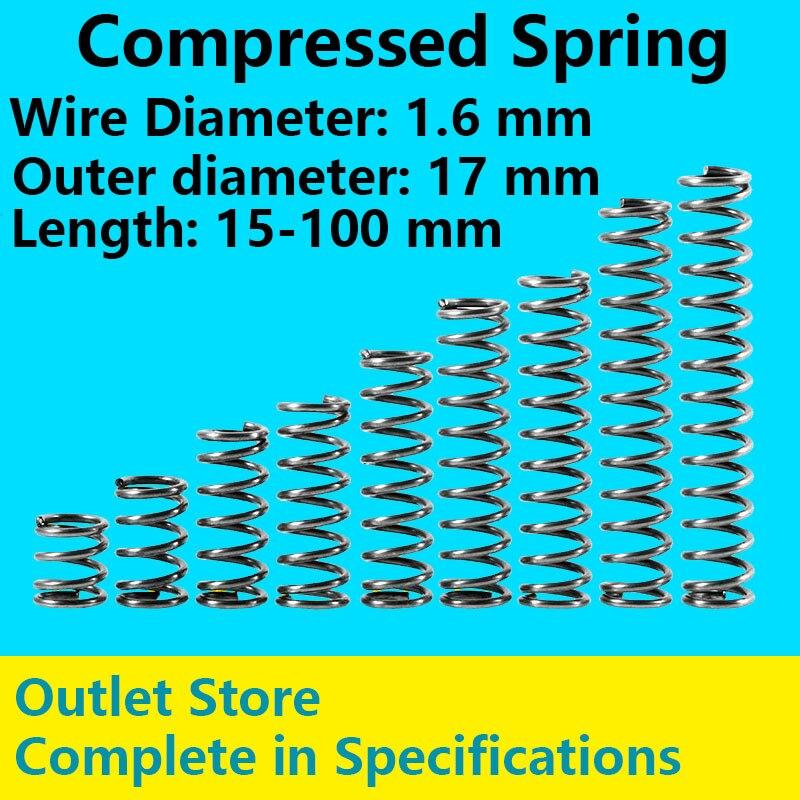 Productos de punto de resorte comprimido Anti fatiga telescópico línea de resorte diámetro 1,6mm, Diámetro externo 17mm, longitud 60mm-100mm