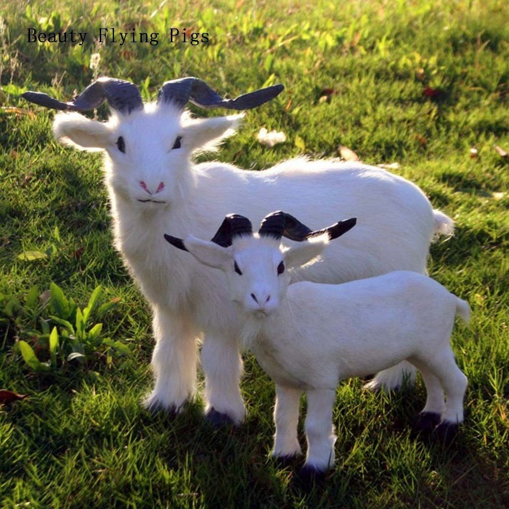 Película accesorios simulación cabras adornos de cuero de animales de peluche juguetes hogar Decoración modelo de cabra mascota Lucky decoración del hogar