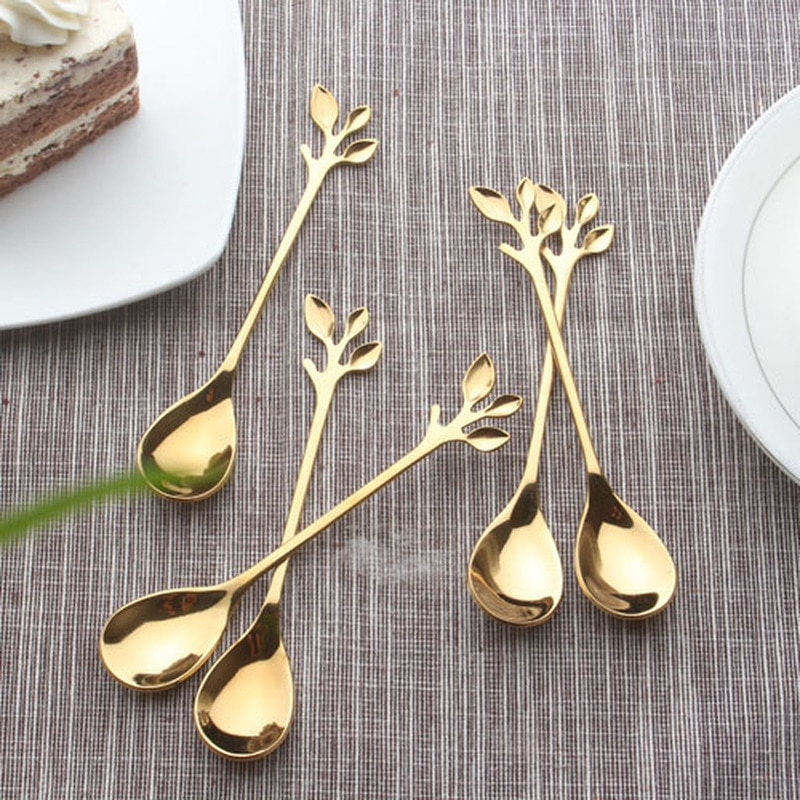 Nordic Leaf Spoon Creative Gold Plated Stainless Steel Coffee Mixing Spoon Japanese Stainless Steel Personalized Leaf Spoon CYJ