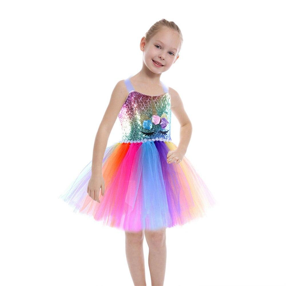 Summer Unicorn Baby Girls Sequins Tutu Dress Children Unicorn Dress Party Little Girl Kid Clothes Princess Rainbow Outfits Dress недорого