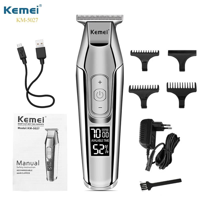 Kemei 5027 بطارية سعة كبيرة الحلاق المهنية الشعر المتقلب النفط رئيس نحت مقص الشعر الكهربائية LCD آلة حلاقة