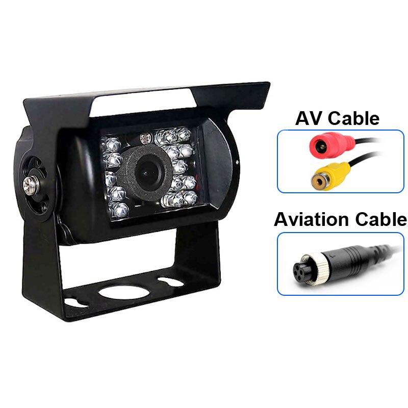 Impermeable 18 LED IR visión nocturna de coche de visión trasera de marcha atrás cámara de respaldo de aparcamiento para 12V 24V camión de autobús autocaravana vehículo