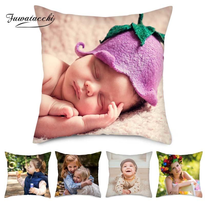 Fuwatacchi Family Customization Pillow Cover Baby Friends Customize Cushion Linen Photo Pillowcase 45cm*45cm