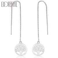 doteffil 925 sterling silver circle round tree drop earring for women lady wedding engagement party fashion jewelry