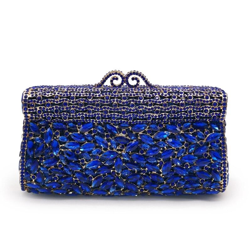 حقيبة يد نسائية من الكريستال ، فضية/حمراء/زرقاء ، حقيبة زفاف ، حقيبة كتف بسلسلة ، حقيبة حفلات مسائية