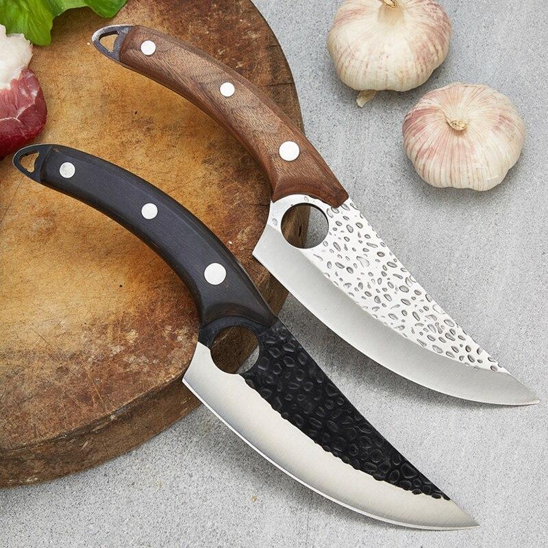 Cuchillo de deshuesado de acero inoxidable, cuchillo de carnicero forjado de estilo...