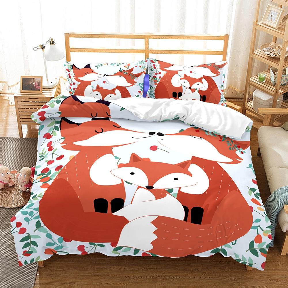 Animals Bedding Lovely Fox Family in Sweet Cherry Pastel Cartoon Comic Duvet Cover Set Pillowcase Single Double Full Queen King