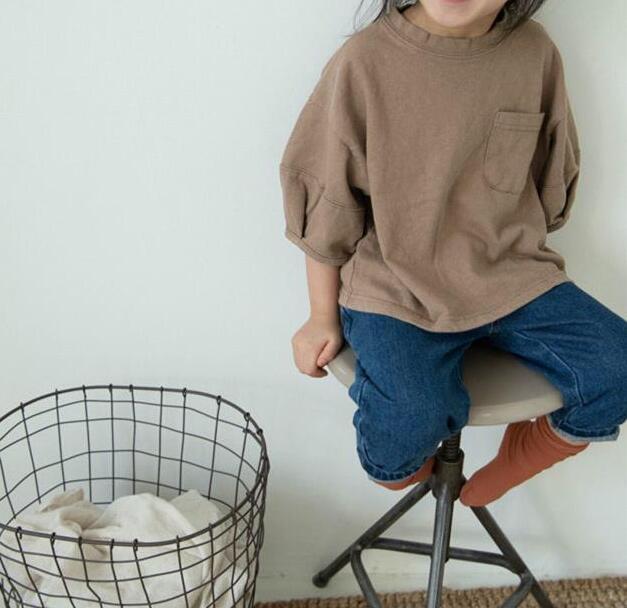 2020 nueva llegada camiseta para niños y niñas de algodón de Moda de Primavera camisetas para niños 2-7 años