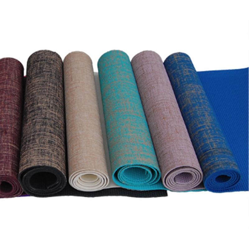 Нескользящий джутовый ПВХ коврик для йоги натуральный Коврик для йоги толщина 5 мм Льняной материал коврик для йоги коврик для упражнений