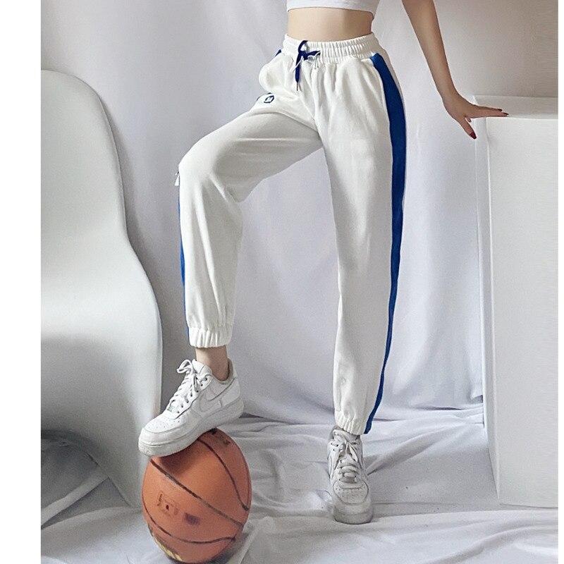 Брюки женские, новинка 2021, спортивные брюки, женские свободные, с подкладкой, на весну и осень, модные повседневные спортивные штаны для поху...