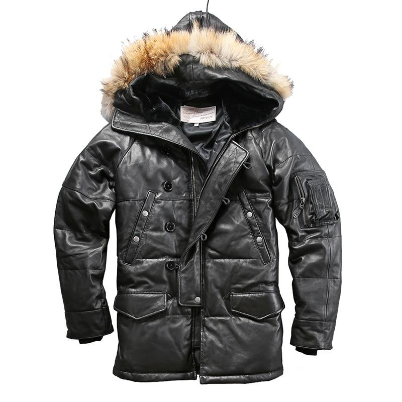 018 Read Description! High Quality Super Warm Genuine Mens Sheep Skin Duck Down Leather Coat