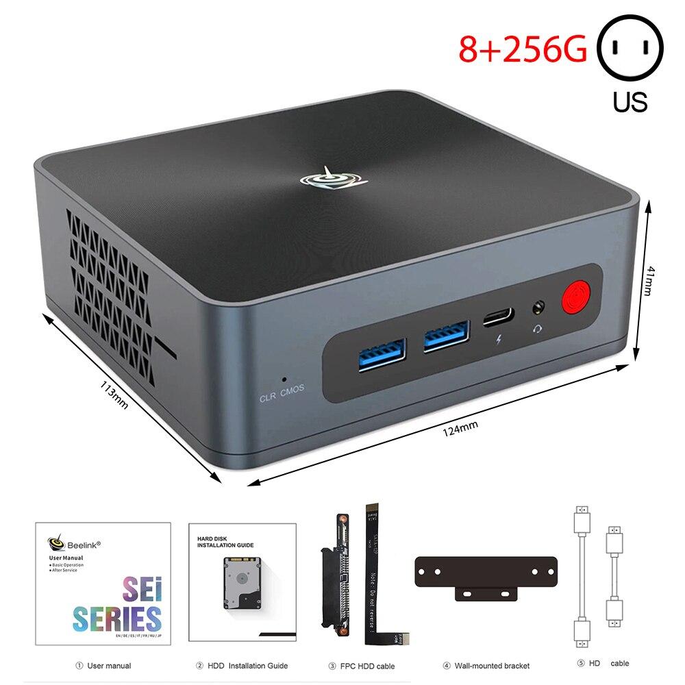 BEELINK SEi 8 جهاز كمبيوتر صغير i5-8259U وحدة المعالجة المركزية 8 + 256G/16 + 512G بلوتوث 5.0 Wifi6 1000M LAN Type-C USB3.0 HD 4K عرض جهاز كمبيوتر صغير مكتب المنزل