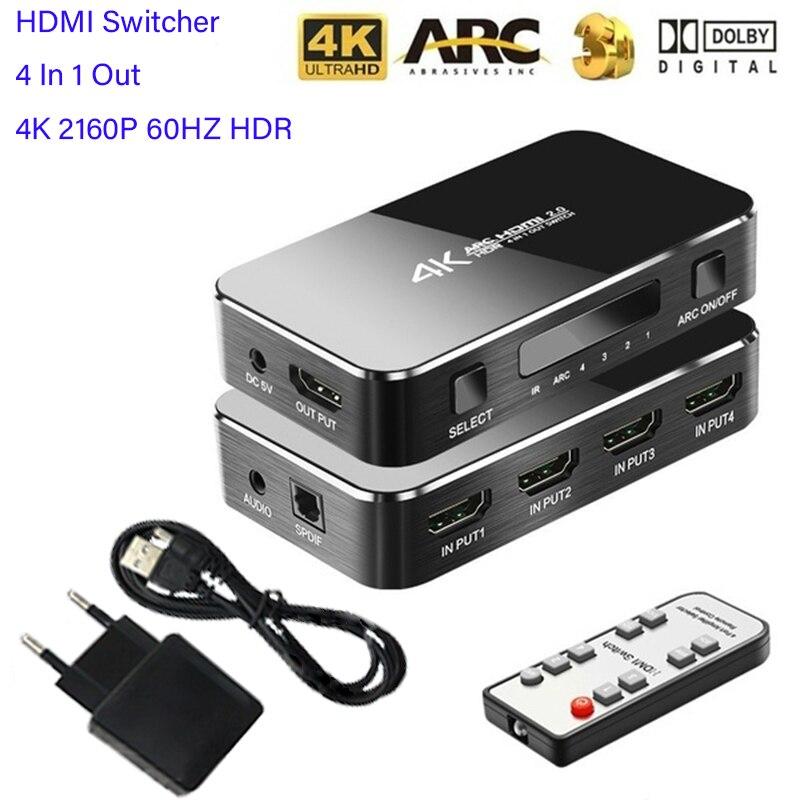 HDMI коммутатор 4K 2160P 60HZ HDR 4 в 1 выход HDMI переключатель 3,5 мм jack ARC IR управление для PS3 PS4 HDTV проектор HDMI 2,0 сплиттер