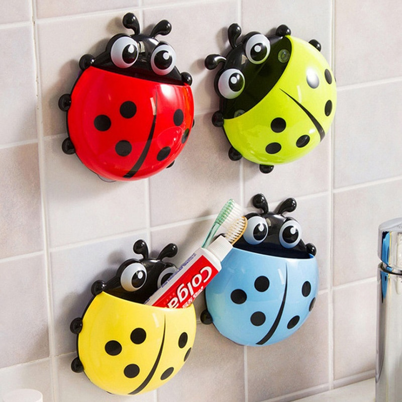 Cute ladybug insect toothbrush holder Cartoon Toiletries Toothpaste Holder Wall Suction Bathroom Sets cup tooth brush container