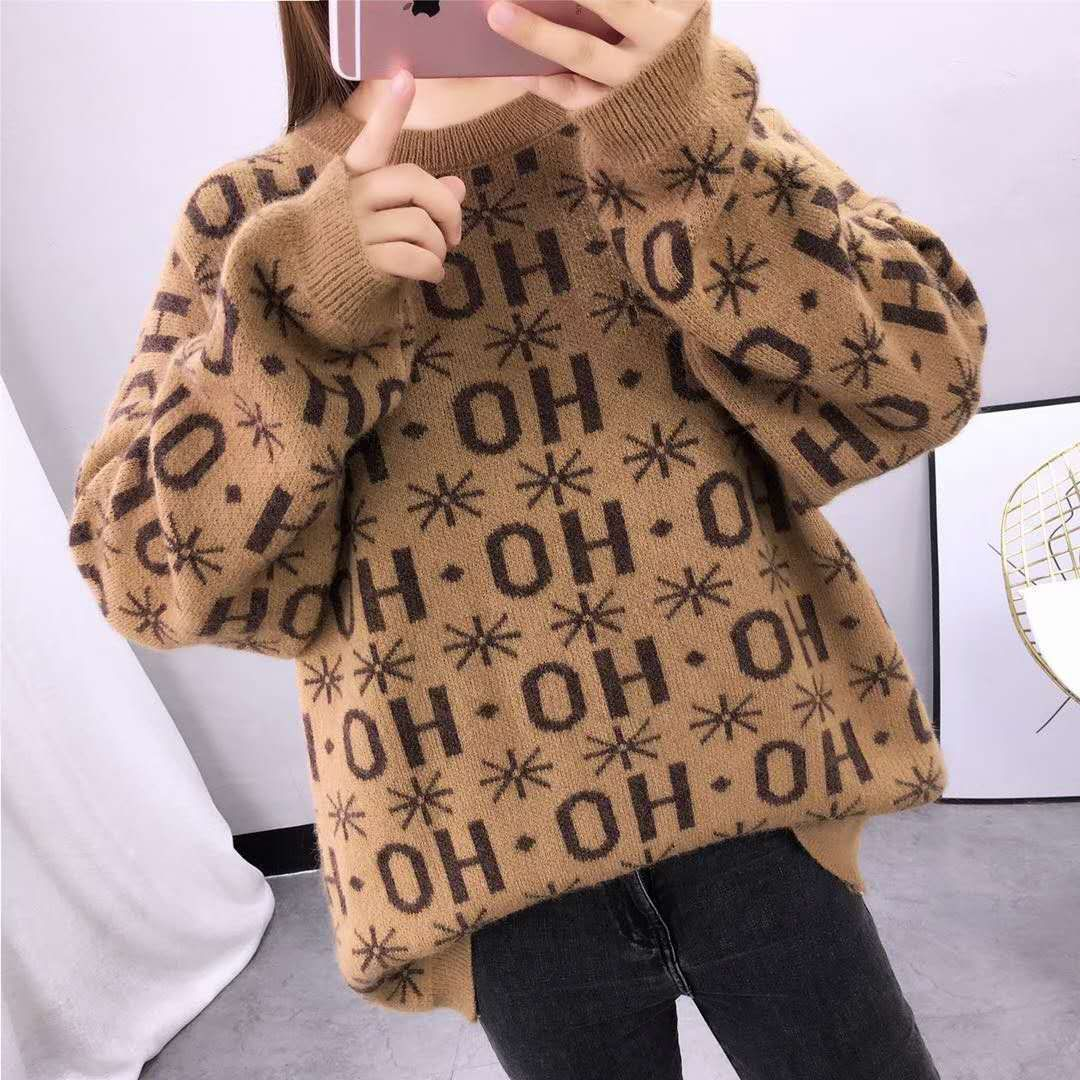 Sweater Women s Clothing Autumn and Winter 2020 New Korean Loose Lazy Retro Pullover with Long Sleeve Knitted Backing