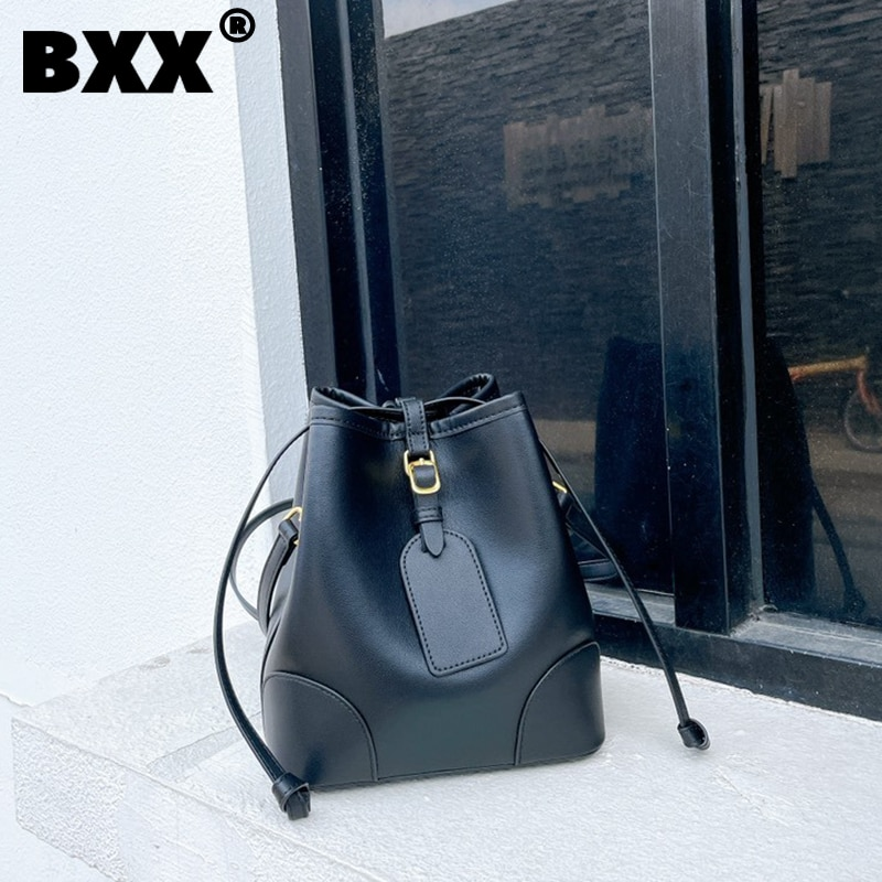 [BXX] Vintage Genuine Leather Bucket Bags Women 2021 Fashion Branded Chain Crossbody Hand Bag Lady Trend Handbags Purses CB650