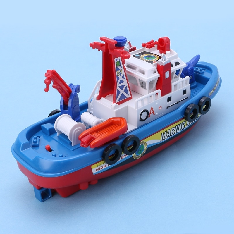Fast Speed Music Light Electric Marine Rescue Fire Fighting Boat Toy  for Kids R9JD enlarge