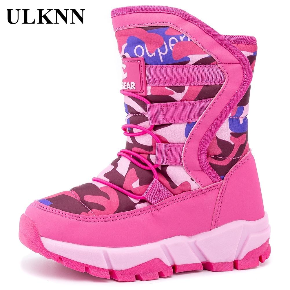 ULKNN-حذاء برقبة للثلوج للأطفال ، أحذية شتوية جديدة مقاومة للماء من القطن للأطفال ، أحذية دافئة بنعل مطاطي ، مقاس 24-40 ، 2020