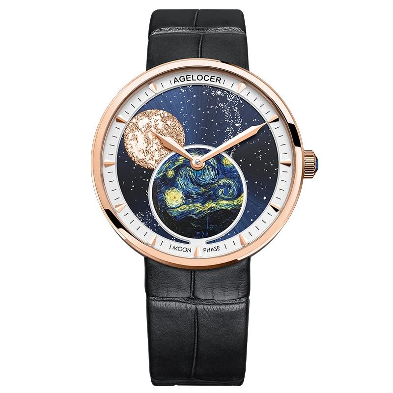 AGELOCER Moon Phase Womens Watches Van Gogh Top Brand Luxury Waterproof Watch Fashion Ladies Ultra-Thin Wrist Watch Quartz Clock enlarge