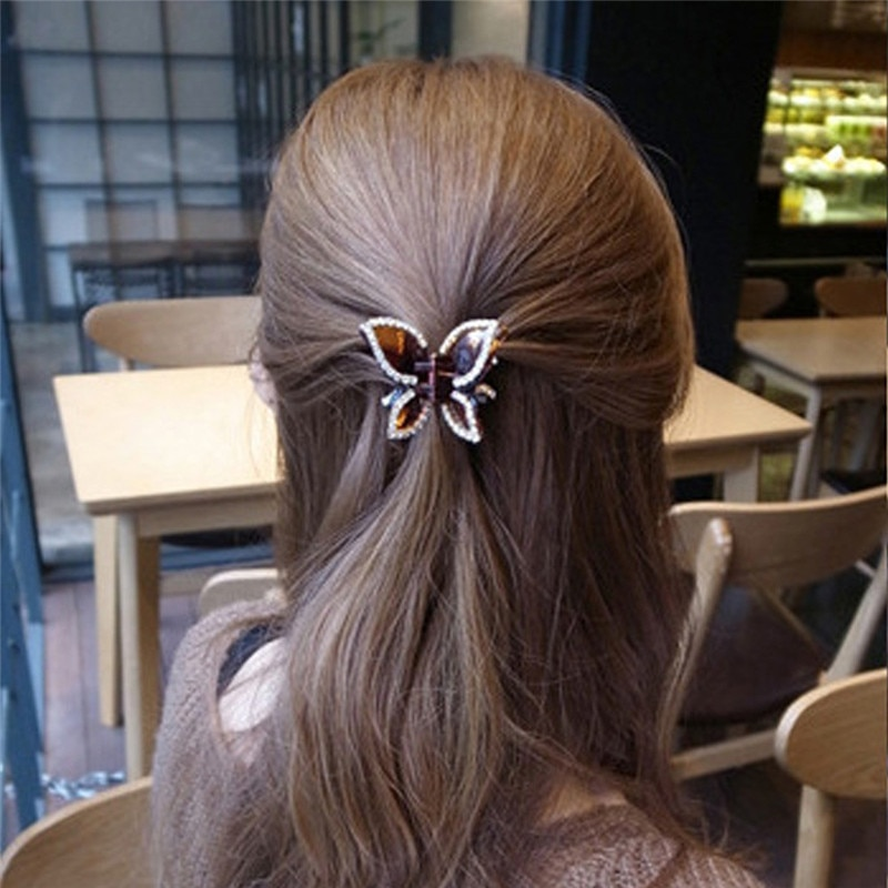 1pcs 2019  Korea New Fashion Women Girls  Coffee Black Metal Diamond Butterfly claw clip hair accessories Holder Hair Accessorie