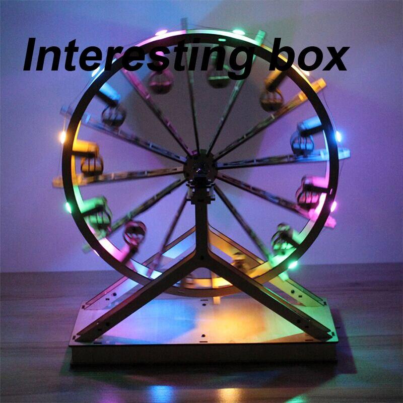 Lâmpada de cor de madeira roda gigante m1 diy feito à mão brinquedo kit elétrico rotativo modelo tecnologia invenção