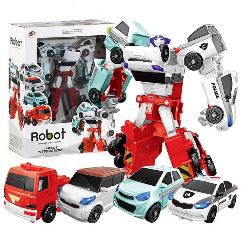 Машинки-трансформеры 4/3 в 1, роботы-экшн-фигурки, игрушки, Мультяшные персонажи, модель робота-трансформера, игрушки без коробки