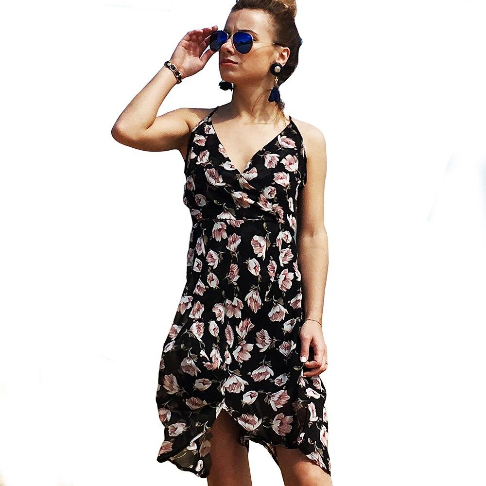 Bonjean-فساتين شيفون طويلة بدون أكمام للنساء ، ملابس بحر مثيرة لفصلي الربيع والصيف