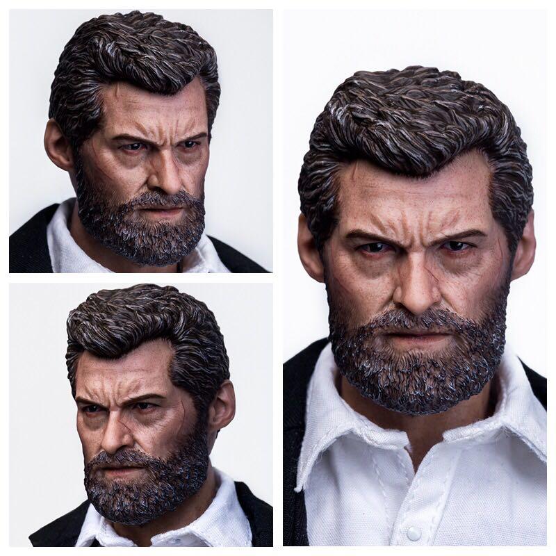 "X-man Wolverine Logan 1/6 Hugh Jack Head Sculpt Carving Old Logan Man Head Carved F 12"" Action Solider Figure Body Doll Toys"