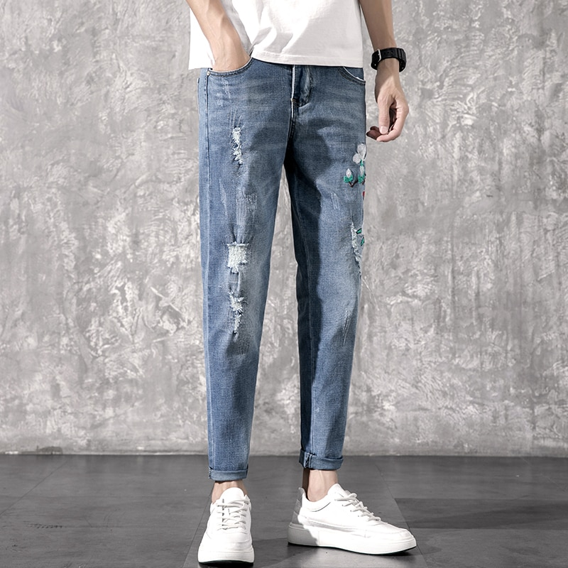 2020 herbst und winter neue herren-jeans Koreanische version von einfache elastische dünne füße hosen sozialen guy Joker casual mode hosen