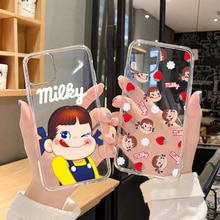 Cartoon Fujiya Peko Milky Girl Phone Case For iphone 5 5s se 2 6 6s 7 8 12 mini plus X XS XR 11 PRO