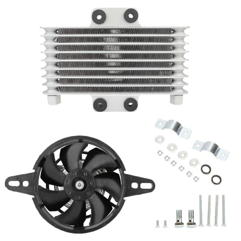 Motorcycle Engine Oil Cooler Fan Cooling Radiator Aluminum 125Ml Universal for Motorcycle Dirt Bike ATV