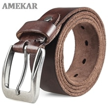 Men Top Layer Leather  Casual High Quality Belt Vintage Design Pin Buckle Genuine Leather Belts For