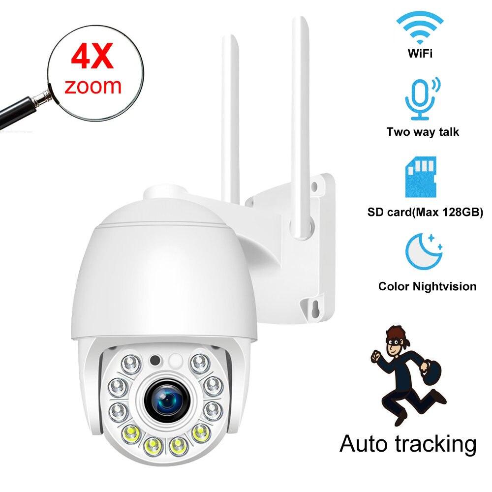 1080P PTZ واي فاي كاميرا IP في الهواء الطلق 64GB 128GB بطاقة SD 4x التكبير الرقمي السيارات تتبع اللاسلكية P2P الصوت 2MP الأمن كاميرا تلفزيونات الدوائر المغل...