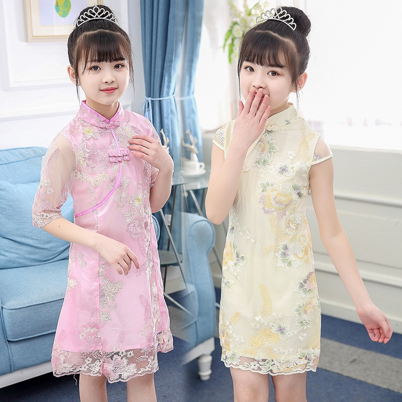 chinese style winter girls dress long sleeve embroidered cheongsam princess dresses for girls birthday party dress kids clothing USHINE  Chinese style print cheongsam dress girl kids flowers Cheongsam floral Party princess dresses dance performance clothing