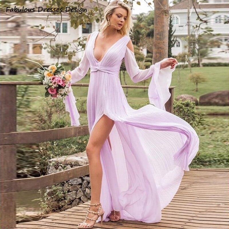 فستان إشبينة العروس أرجواني ، أكمام طويلة ، مثير ، ياقة على شكل v ، رسن ، شق ، طويل ، أرجوحة ، شيفون ، فستان سهرة ، زفاف ، للنساء ، ترند 2021