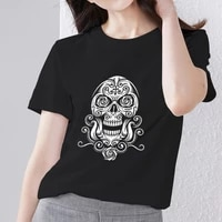 tshirts for women street black all match basis short sleeve tops gothic style skulls pattern print series female t shirt clothes