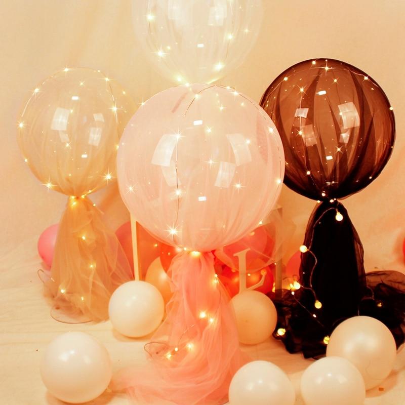 LED Bobo soporte para globos Set con tul luminoso globo cumpleaños fiesta decoración niños boda fiesta suministros aire aluminio Baloon