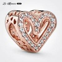 la menars new heart bead fit original pandora charm bracelet genuine 925 sterling silver for women jewelry diy making