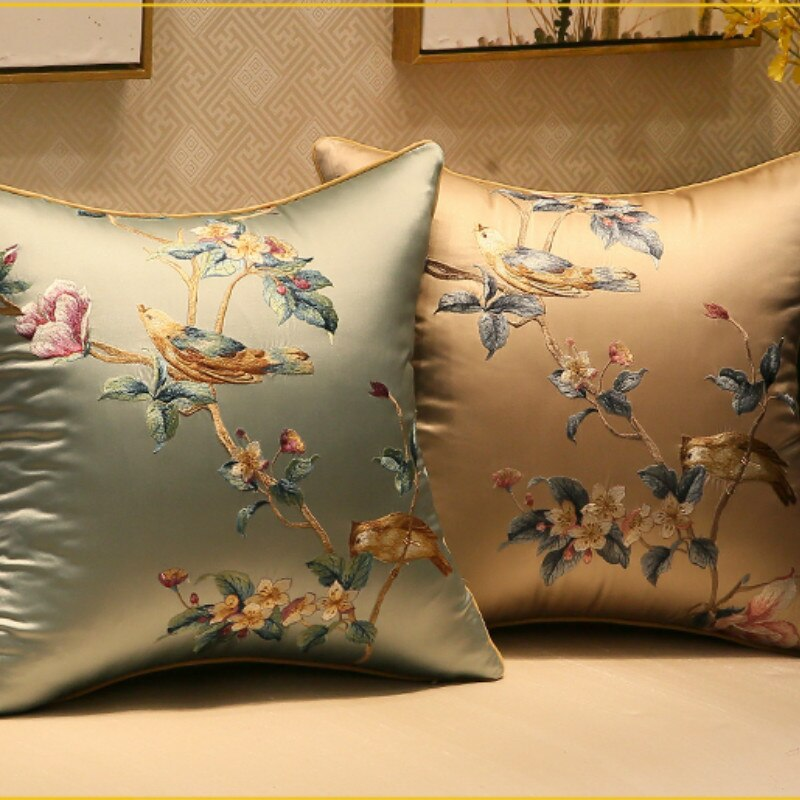 Funda de cojín DUNXDECO, funda de almohada decorativa, funda moderna de cojín para sofá con bordado elegante de flores de pájaros frescos, funda de cojín para silla