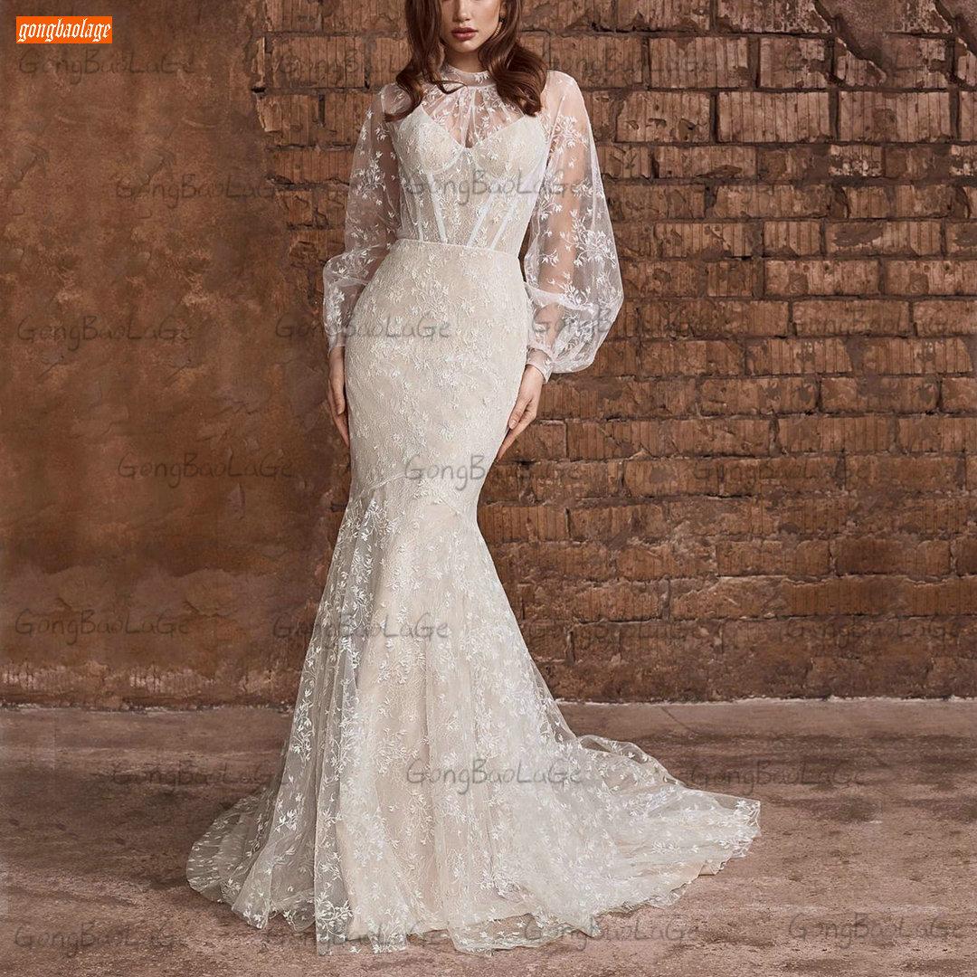 Review Lace Mermaid Wedding Dresses Ivory 2021 Dubai High Neck Bride Gown Custom Made Robe De Mariée Long Puff Sleeves Платье Свадебное