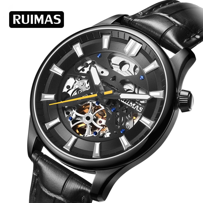 RUIMAS men's mechanical watches stainless steel case hollow design 5ATM waterproof watches business casual leather belt watch