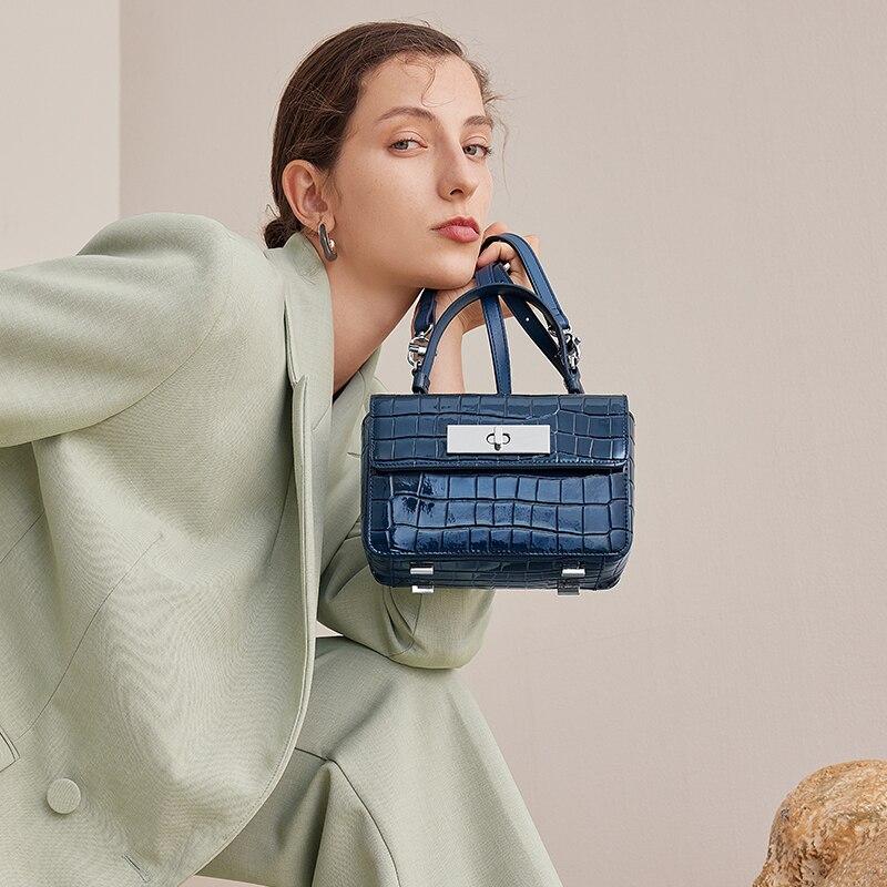 Cnoles جلد طبيعي المرأة حقيبة يد مكتب المرأة الركاب حمل سيدة حقيبة كتف سعة كبيرة Crossbody محفظة حقائب الأزرق